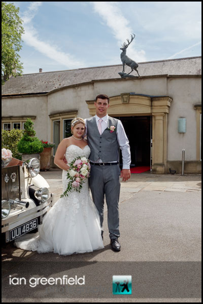 mount pleasant hotel doncaster wedding couple front of hotel
