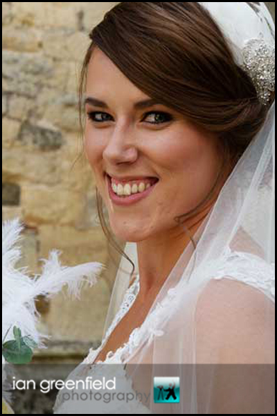 bride at church hirst priory wedding